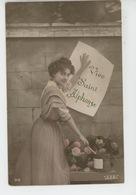 """PRENOMS - FEMMES - FRAU - LADY - Jolie Carte Fantaisie Portrait Femme """"Vive Saint ALPHONSE """" - Firstnames"""