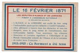 LE 16 FEVRIER 1871 * 14-18 : SERMENT RETENU * DEPUTES ALSACE ET LORRAINE - Historia