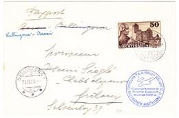 1938 Flugbrief Aus Ruggell über Bellinzona Nach Fribourg; Ausstellungsstempel Aarau - Poste Aérienne