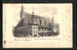 AK Brieg, Rathaus Mit Denkmal Friedrich Des Grossen - Schlesien
