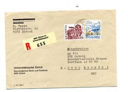Lettre Recommandee Zurich Hopital Sur Zodiaque Folklore - Postmark Collection