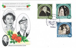 32637. Carta F.D.C. TUVALU 1987. 40 Anniversary Wedding Queen Elisabeth. Queen Victoria - Tuvalu