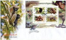 BANGLADESH 2013 FDC SHEET With SNAKE/MONKEYS.BARGAIN.!! - Apen