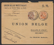 """Croix-rouge - N°150 Et 151 Sur Lettre En """"S.M. Obl """"P.M.B. 4"""" 18/5/18 Vers Baarle-Duc / Union Belge Maastricht. - 1918 Rotes Kreuz"""