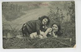 """ENFANTS - LITTLE GIRL - MAEDCHEN - Jolie Carte Fantaisie Enfants Dans Les Blés De """"Bonne Année"""" - Portraits"""