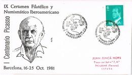 32648. Carta BARCELONA 1981. Certamen Filatelico Centenario PICASSO, Pintura, Arte - 1931-Hoy: 2ª República - ... Juan Carlos I