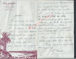 LETTRE COMMERCIALE ILLUSTRÉE HOTEL D ORLÉANS À NICE PETITE DECHIRURE : - 1900 – 1949