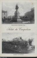 SALUTI DA CAMPOBASSO - MONUMENTO A PEPE E CASTELLO DEI MONFORTE - FORMATO PICCOLO - VIAGGIATA 1922 - Saluti Da.../ Gruss Aus...