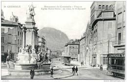 GRENOBLE  (38)     LA PLACE ET L EGLISE NOTRE-DAME EN 1916          Bb-324 - Grenoble