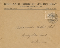 Nederlands Indië - 1929 - 2 Cent Cijfer Op Business Drukwerk Van LB WELTEVREDEN MOLENVLIET Naar Weltevreden - Nederlands-Indië