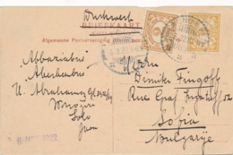 Nederlands Indië - 1922 - 2+3 Cent Cijfer Op Ansicht Van LB WONOGIRI Naar Sofia / Bulgarije - Passar-Vleeschhal - Solo - Nederlands-Indië