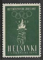 Germany, 1952 Olympics, Helsinki, Promotional Label, Unused, No Gum - Unused Stamps