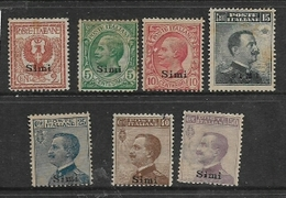 Italy, Aegean, Simi, 7 Stamps, MH *, Badly Toned, Other Faults - Aegean (Simi)