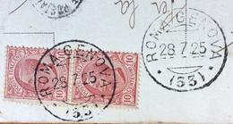 AMBULANTE ROMA - GENOVA (33) 28/7/25  SU CARTOLINA LEVANTO LATO ORIENTALE  CON TORRE DEL SECOLO XIII  Per FIRENZE - 6. 1946-.. Repubblica