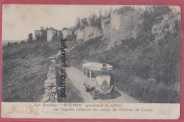 """02 - COUCY---Les Autobus """" SCEMIA """" Gravissent La Colline ,ruines Du Chateau De COUCY - France"""