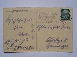02.09.1933 DR Postkarte Slogan Pmk Reichsparteitag NSDAP Nürnberg 1933 - Briefe U. Dokumente