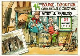 14ème Bourse Exposition Cartes Postales Et Collections - VITRY LE FRANCOIS Novembre 93 - Dessin Cagniat - TBE - Collector Fairs & Bourses