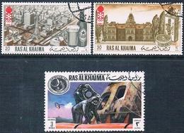 Ra's Al Chaima 1972  -  Michel  600 + 601 + 712  ( Usados ) - Ra's Al-Chaima