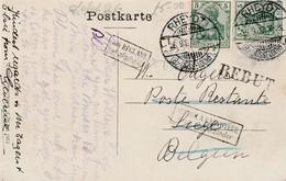 1907 Much Redirected Card Of Rhedyt Refused Etc 2x 5pf Germania Stamps Rheydt CDS - Postcards