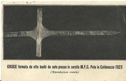 """3425 """"CROCE FORMATA DA OTTO BACHI DA SETA PRESSO LE SORELLE M.F.C.POLA IN CALDONAZZO 1923"""" CART. POST. ORIG. NON SPED. - Cartoline"""