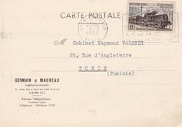 YT 1024 SEUL SUR CP LYON TERREAUX 9/3/56 POUR LA TUNISIE - 1921-1960: Modern Tijdperk
