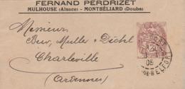 "Belfort :  T. à D. / 108 (bande De Journal Repiqué  "" Fernand PERDRIZET - Mulhouse - Montbéliard...) - Postal Stamped Stationery"