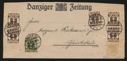 Danzig Brief Streifband MIF 74 + 77 Wappen Danziger Zeitung Nach Glückstadt - Danzig