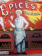 ÉTIQUETTE PUBLICITAIRE ÉPICES DU TRAITEUR FOURNEAUX CUISTOT CUISINE 1kg Net Relève Le Gout Des Aliments Stimule Appétit - Etiquettes