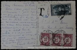 Italie Bruxelles 1953 - 15 Lires + 3x 1Fr TAXE - Lettres