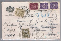 Portugal, 1950, # 620 ... , Para França, Multa - Covers & Documents