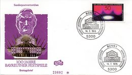 "BRD Schmuck-FDC ""100 Jahre Bayreuther Festspiele"", Mi. 896 ESSt 14.7.1976 BONN 1 - [7] Repubblica Federale"