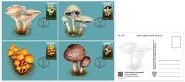 Kyrgyzstan 2019 Set 4 MC Maximum Cards Poisonous Mushrooms Champignons Vénéneux - Funghi