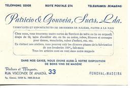 Funchal, Madeira. Rua Visconde De Anadia 33. Broderies, Vins De Madère. - Cartes De Visite