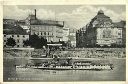 """3434 """" BRATISLAVA - REDUTA """" PIROSCAFO E BATTELLI  CART. POST. ORIG. SPED.1937 - Slovacchia"""