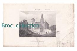 Cathédrale De Glascow, Ecosse, Comté D'Haddington, Ecosse, Gravure De F. A. Per Not Et Schroeder, Style Lemaître, N° 92 - Estampes & Gravures