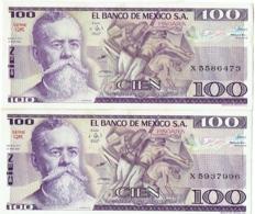 Billet. El Banco De Mexico. Cien (100) Pesos. 1981. Lot De 2 Billets. - Mexico