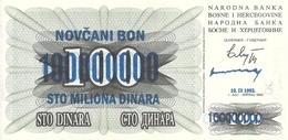 BOSNIE HERZEGOVINE 100 MILLION DINARA 1993 XF P 37 - Bosnia And Herzegovina
