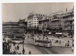 1959 YUGOSLAVIA, CROATIA, ZAGREB, REPUBLIC SQUARE, USED ILLUSTRATED POSTCARD - Yugoslavia