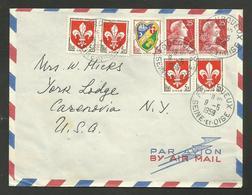 Affr. Marianne De Muller & Blason / Lettre Avion >>> U.S.A. / FOURQUEUX 09.05.1959....au Tarif - Postmark Collection (Covers)