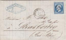 Lettre Obl. T15 Ars Sur Moselle + GC 177 Le 8 Mai 66 Sur N° 22 (20c Bleu) Pour Strasbourg - 1849-1876: Classic Period