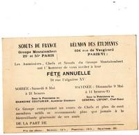 SCOUTISME -  Invitation FETE  ANNUELLE - Scouts De France - Groupe Montalembert 25é Et 50é PARIS  -Au Dos Jeu De Piste ? - Non Classés