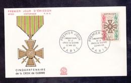 CACHET PREMIER JOUR - CINQUANTENAIRE DE LA CROIX DE GUERRE - MAI 1965 - PARIS - FDC