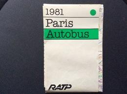 PLAN RATP AUTOBUS Paris 1981 - Europe