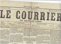 Le Courrier De Saone Et Loire Du 18 Septembre 1872 - Narbonne - Branges - Journaux - Quotidiens
