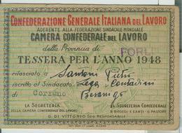 """""""CAMERA CONFEDERALE DEL LAVORO"""" FORLI,TESSERA PER L'ANNO 1948,LEGA CONTADINI DI CORIANO (RIMINI), - Organizations"""