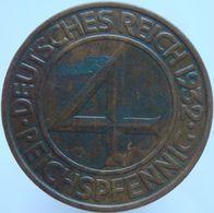 Germany 4 Reichspfennig 1932 A UNC - 4 Reichspfennig