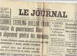 Le Journal Du 26 Septembre 12936 : L'offensive De BILBAO - Newspapers