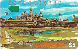 Cambodia - Telstra - Anritsu - Angkor Ruins (Telstra Logo), 5$, 1994, 85.000ex, Used - Kambodscha
