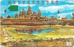 Cambodia - Telstra - Anritsu - Angkor Ruins, (5.00$ On Back), 5$, 1994, Used - Cambodia