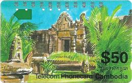 Cambodia - Telstra - Anritsu - Temple (ICM3-2), 50$, 30.000ex, Used - Kambodscha